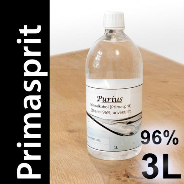 3 L Primasprit 96% Neutralalkohol, 3 PET-Flaschen