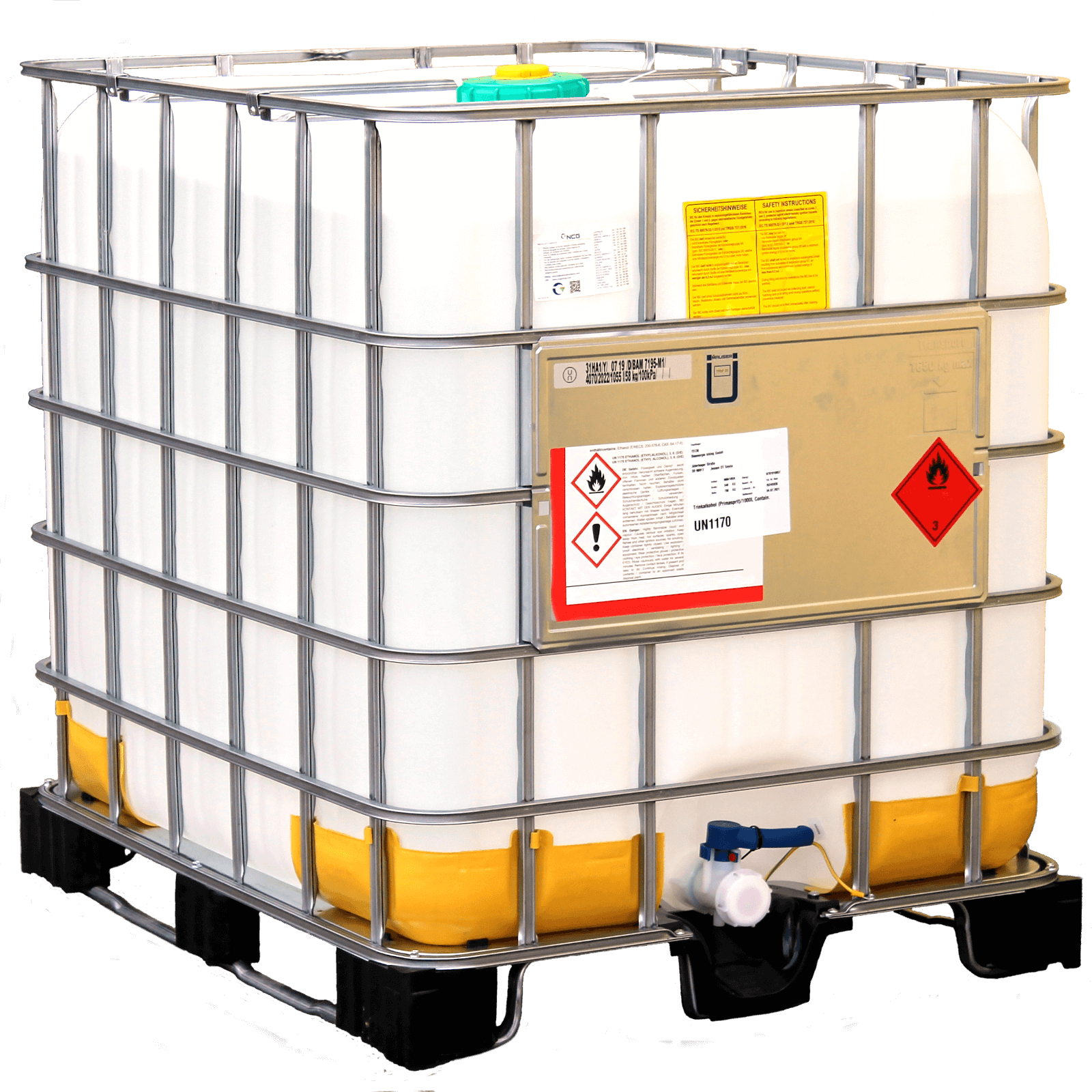 1000 Liter Bioethanol 96,6%, MEK 1%, IPA 1%, Bitrex 1g, 1 Container