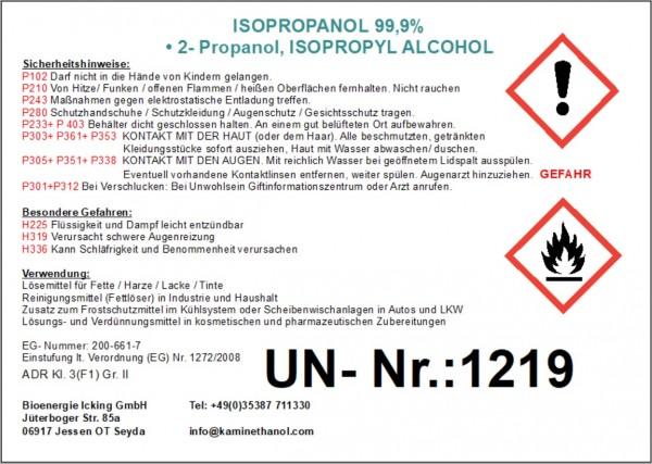 30 Liter Isopropanol 99,9%, 3 Kanister