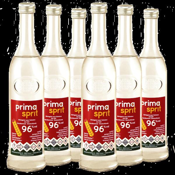 6 x 500 ml Primasprit 96% Neutralalkohol, 6 Glas-Flaschen