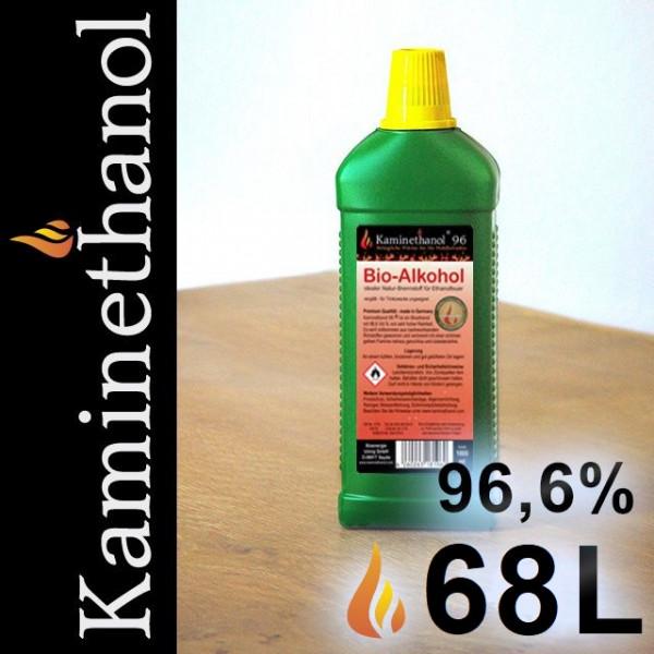68 Liter Bioethanol 96,6%, 68 Flaschen mit Kindersicherung