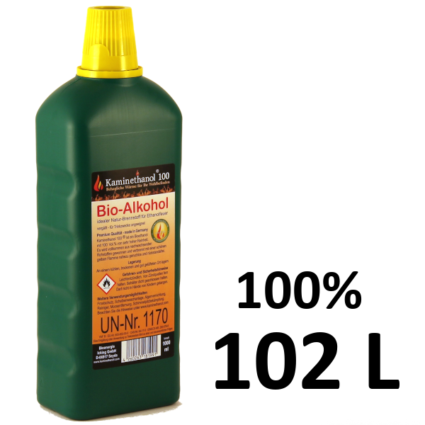 102 Liter Bioethanol 100%, 102 Flaschen mit Kindersicherung