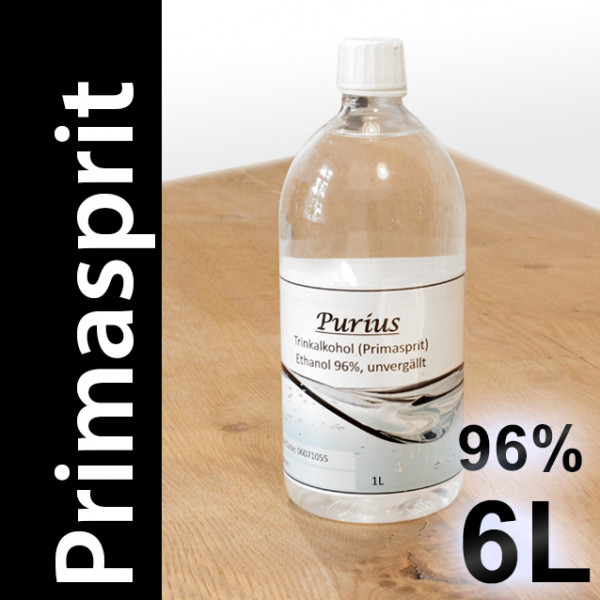 6 L Primasprit 96% Neutralalkohol, 6 PET-Flaschen