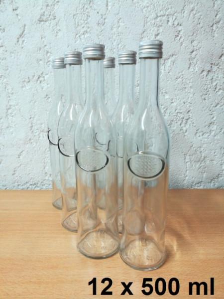 Glasflaschen 12 x 500 ml inkl. Schraubverschluss