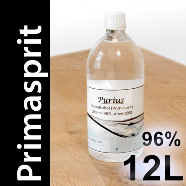 12 L Primasprit 96% Neutralalkohol, 12 PET-Flaschen