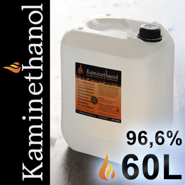 60 Liter Bioethanol 96,6%, 6 Kanister