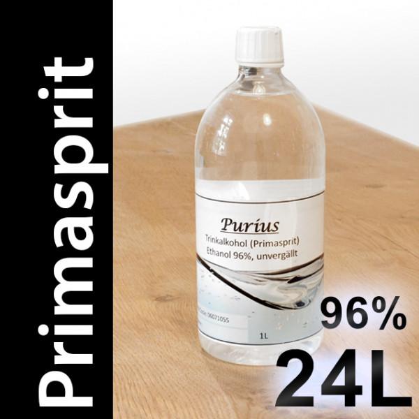 24 L Primasprit 96% Neutralalkohol, 24 PET-Flaschen