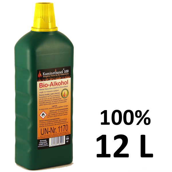 12 Liter Bioethanol 100%, 12 Flaschen mit Kindersicherung