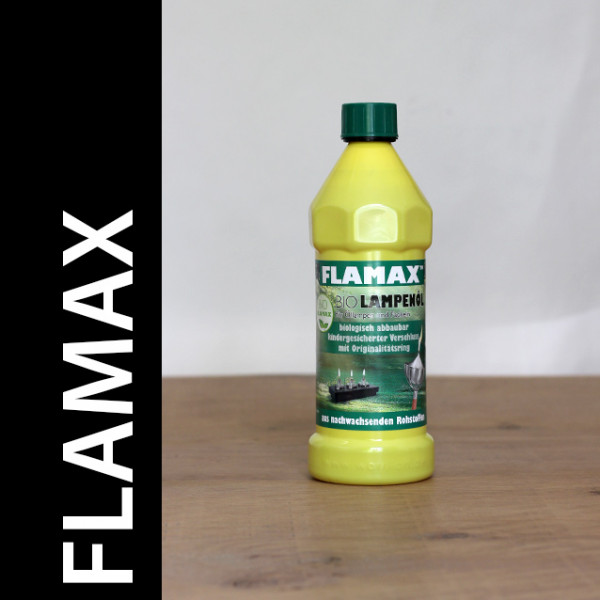 Flamax Bio- Lampenöl , 12 PET-Flaschen á 800ml