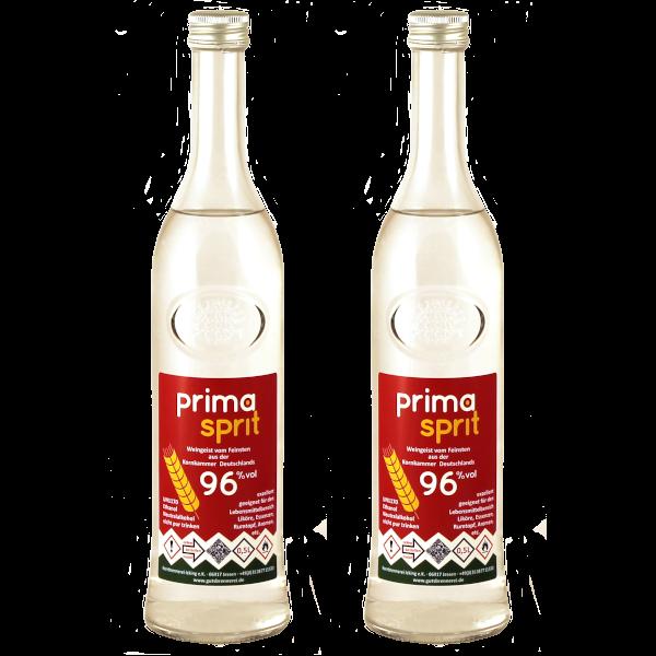 2 x 500 ml Primasprit 96% Neutralalkohol, 2 Glas-Flaschen