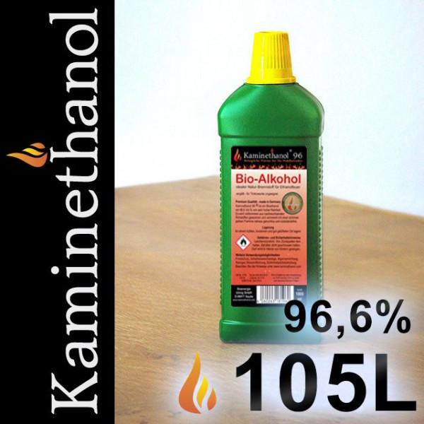 105 Liter Bioethanol 96,6%, 105 Flaschen mit Kindersicherung