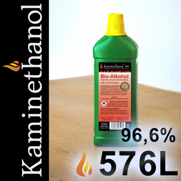 576 Liter Bioethanol 96,6%, 576 Flaschen mit Kindersicherung