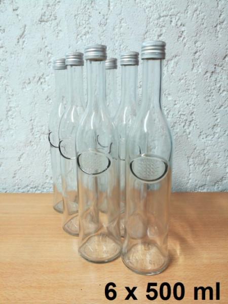 Glasflasche 6 x 500 ml inkl. Schraubverschluss