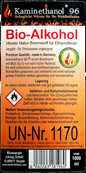 Bioethanol 96,6% in 1 Liter Flasche mit Kindersicherung