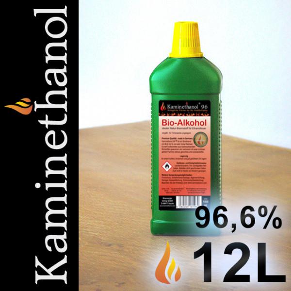 12 Liter Bioethanol 96,6%, 12 Flaschen mit Kindersicherung