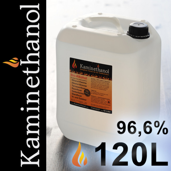 120 Liter Bioethanol 96,6%, 12 Kanister