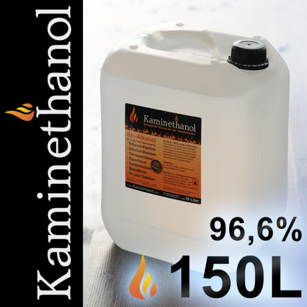 150 Liter Bioethanol 96,6%, 15 Kanister