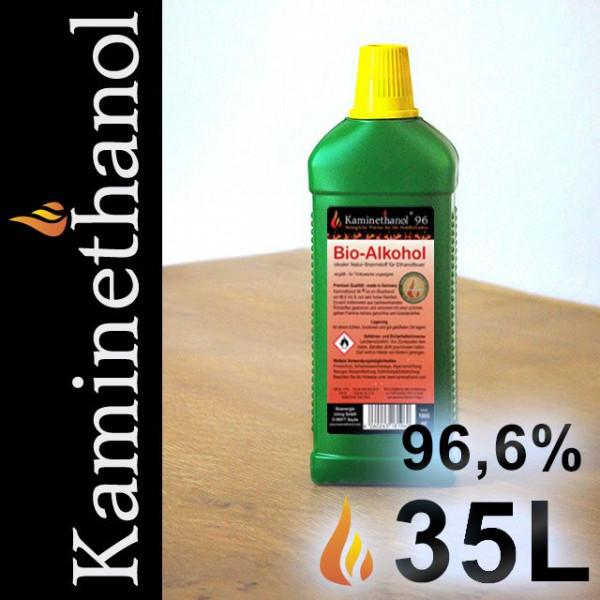 35 Liter Bioethanol 96,6%, 35 Flaschen mit Kindersicherung